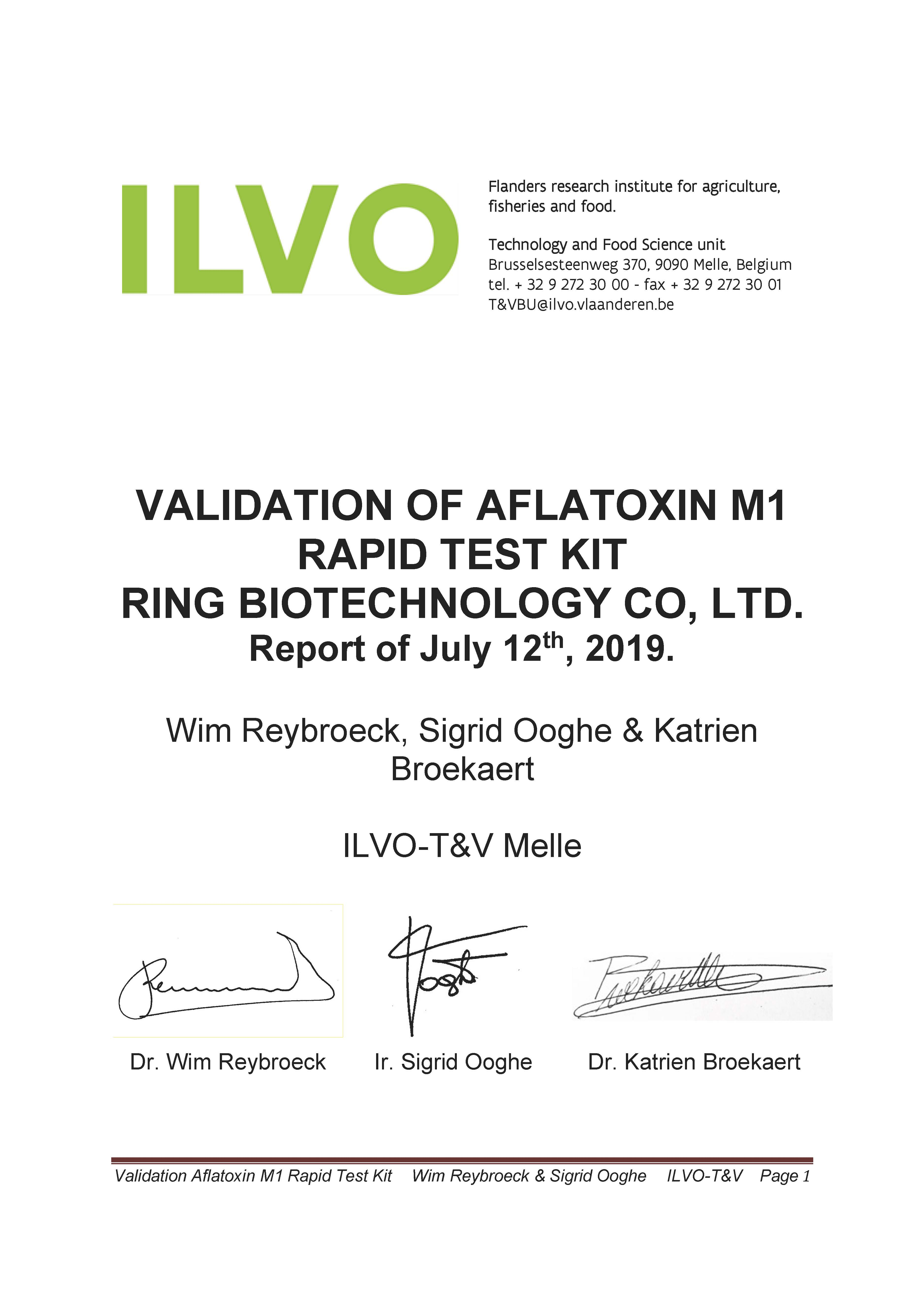 ILVO Validation of AFM1